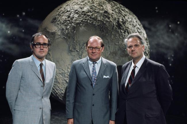 Cliff Michelmore, centre, anchored all the main broadcasts, while James Burke, left, and Patrick Moore focused on the technical aspects and science of the mission