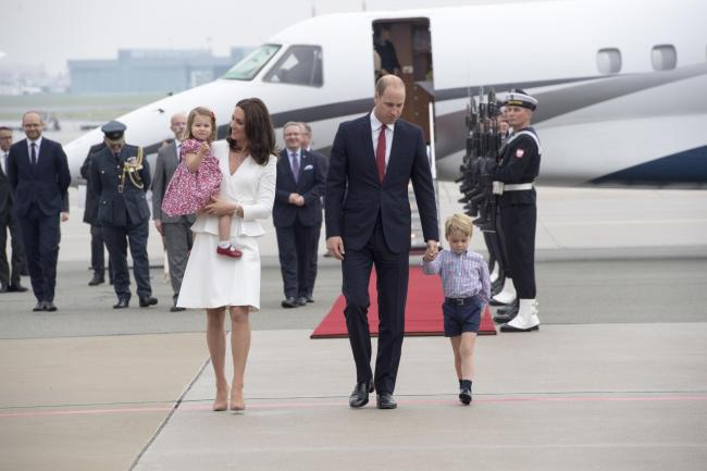 The Duke and Duchess of Cambridge and Prince George and Princess Charlotte in Warsaw in 2017