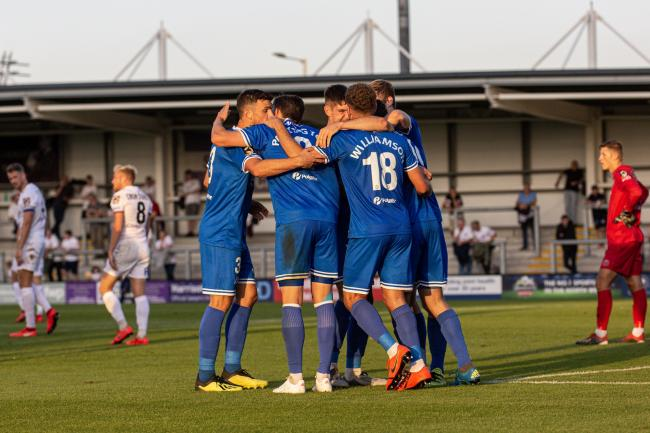 Eastleigh celebrate their equaliser at Fylde. Pic: Graham Scambler