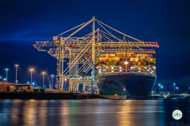 Southampton container port at night, photographed by Southern Daily Echo Camera Club member Matt Adamiak