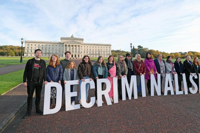 Pro-choice activists in the grounds of Stormont