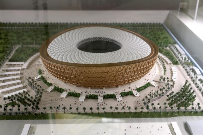 A model of the Lusail Stadium in Qatar, set to host the opening match and final of the 2022 World Cup