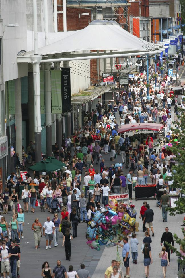 Shoppers in Above Bar Southampton high street - outside WestQuay.