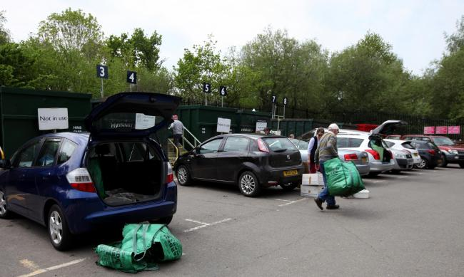 Cllrs Dorothy Baverstock and Mark Cooper at the Household Waste Recycling Centre, Bunny Lane, near Romsey, which is under threat of closure.            Picture: Chris Moorhouse       Thursday 12th May 2016.