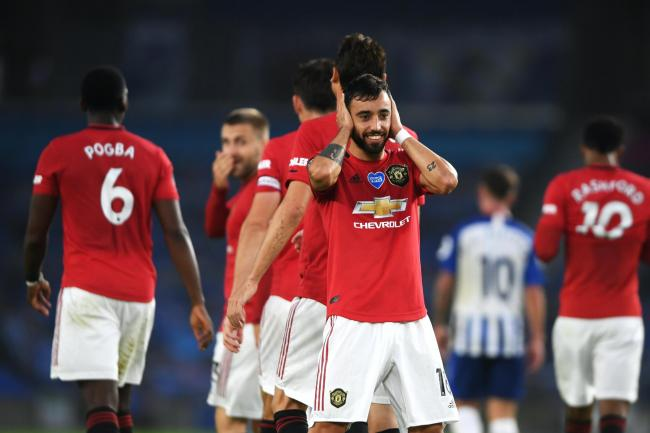 Manchester United's Bruno Fernandes celebrates scoring at Brighton