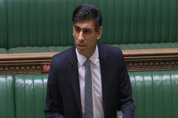 Chancellor Rishi Sunak delivering his Budget speech; below, Mike Pavitt of Paris Smith