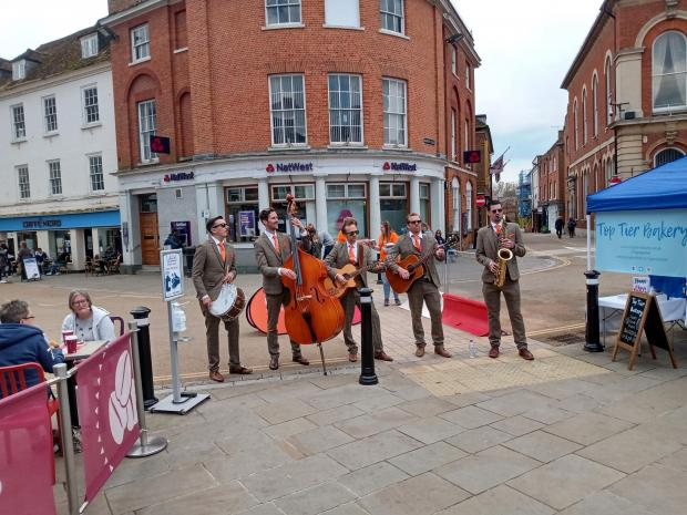 Romsey Advertiser: The Travelling Hands perform in Romsey town centre.