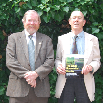 Patrick Kinnersly, right, receives his prize from CPRE  president and author, Bill Bryson