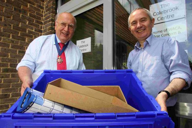 Romsey Advertiser: Mayor of Winchester, Cllr Barry Lipscomb, left, welcoming WACA chief executive Paul Williams to the Colebrook Centre in 2011
