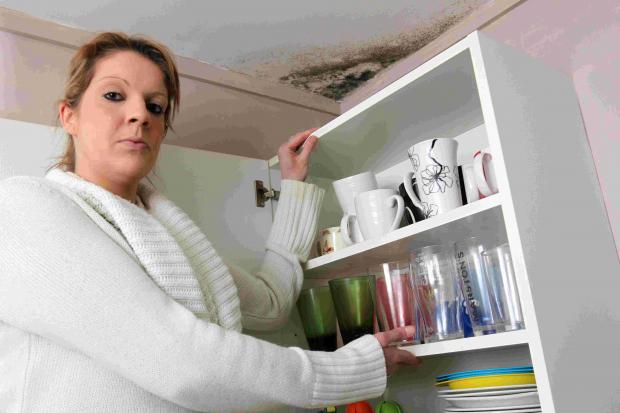 Stacey Noble with one of the patches of damp in her council flat in Winnall