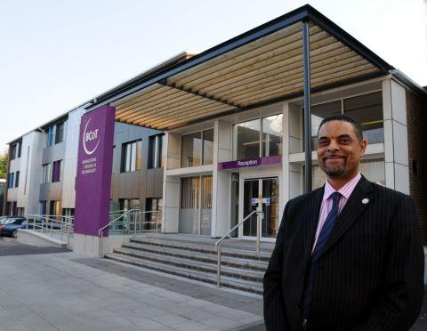 BCoT principal Anthony Bravo outside the new-look college entrance