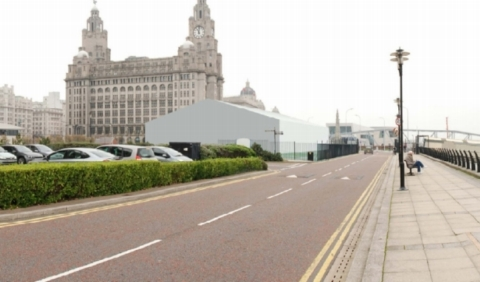 Artist impression of the proposed temporary baggage hall at Liverpool's existing cruise terminal