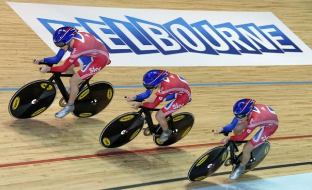 Great Britain's women's 3,000m pursuit team. Far right, Dani King.
