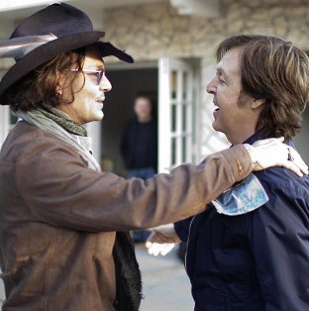 Sir Paul McCartney with Johnny Depp during the filming of his new video for the track My Valentine