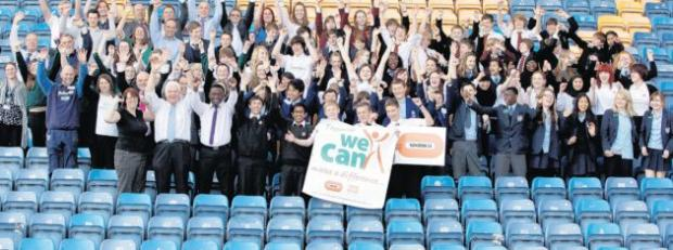 Pupils and staff celebrate their successful innovations.