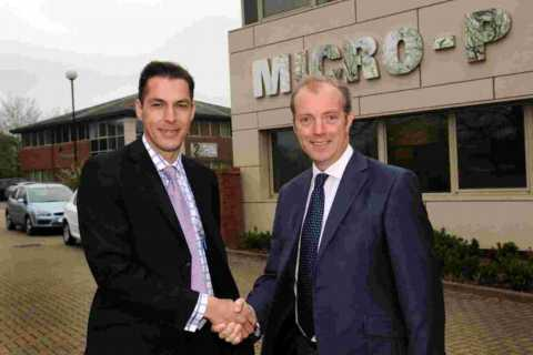 L-R: Micro-P business development director Simon Woodman with Chineham Park managing director Rupert Batho