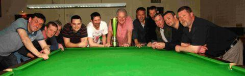 FINALISTS: Ken Caldwell Cup final. From left, Winchester Club A: Graham Bradshaw, John Mills, Lawrie Lemond, Aarron Bell, Piers Thomas (capt). Winchester Club B: Barry Ennever (capt), Phil Mort, Alan Coombes, Rich Hume, Mark Pedder, Geoff Rowlands.