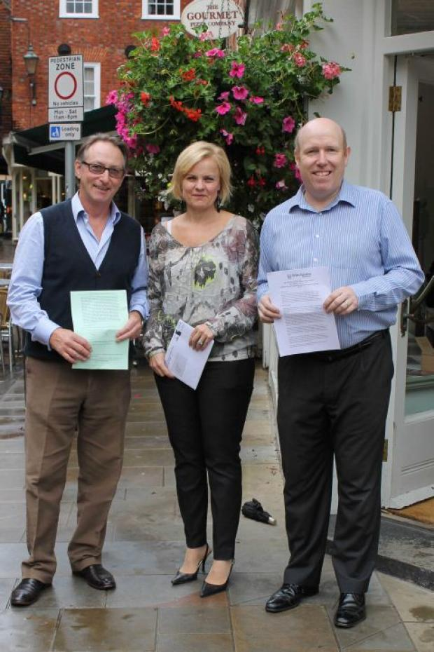 Traders show support for BID renewal (from Left to right: Tony Mawson from Mawson & Company, Mandy Macartney from Pavilion and Graham Compton-Price from Jones the Bootmaker).