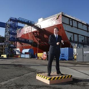 David Cameron speaks during a visit to Rosyth Dock Yard in Fife, ahead of meeting with Scotland's First Minister Alex Salmond