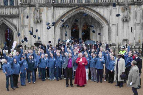 Street pastors outside Winchester Cathedral after a service to celebrate its launch in 2011