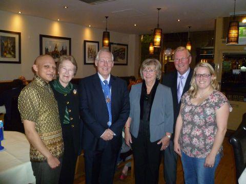 (L-r) Shah Kayum of the Bangkok Brasserie, Mayoress Anne Pearson, Mayor Frank Pearson, volunteers Dorothy Trinder and John Le-Riche and Emma Digance, Brendoncare head of fundraising