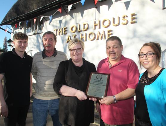 The Old House at Home, Romsey, is  Fullers Pub of the Year Award for the third time, Pictured from left are staff Josh Mansley, Paddy Robinson, Sarah Edom, Mike Edom and Jodie Collis