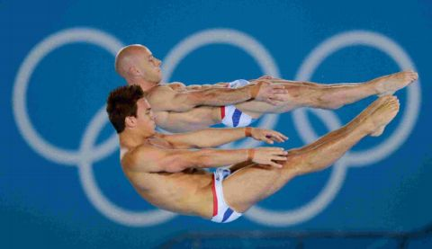 Tom Daley, foreground, and Peter Waterfield