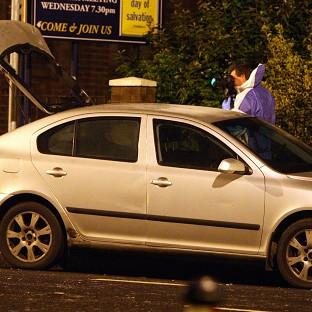 A police car that was hit by a petrol bomb as a new outbreak of sporadic trouble occurred in parts of east and south Belfast
