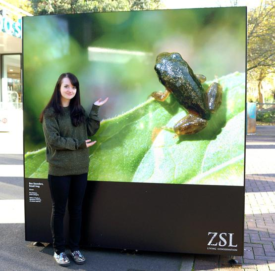 Bex Saunders and her winning photo on show at London Zoo