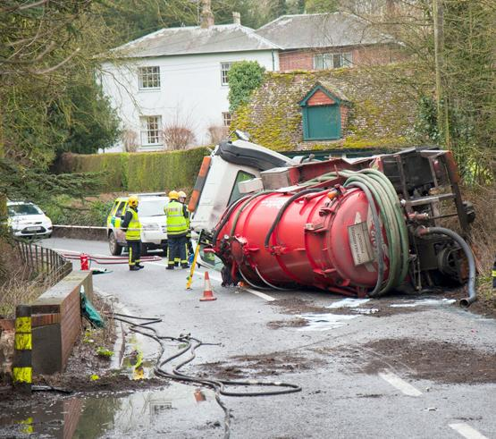 Lorry with 8,000 litres of sewage overturns