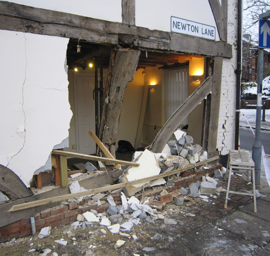 Medieval building victim of 21st-century driving