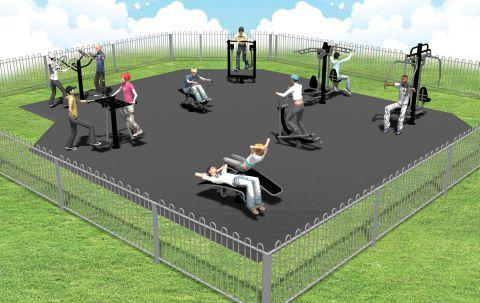 An illustration of how the fitness area will look