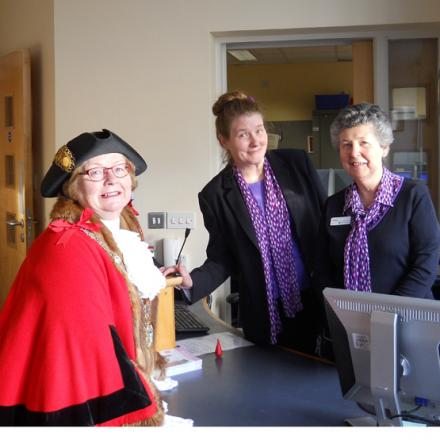 Mayor of Test Valley, Dorothy Baverstock, with customer services staff, Grace Garvey (centre) and Helen Tuffin, at the opening of TVBC's new drop-in centre