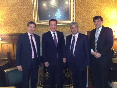 Today's meeting: Steve Brine, David Cameron, Khalid Aziz and John Glen