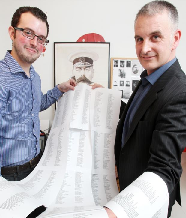 Romsey Advertiser: Simon Pearce and Pete Chapman with their list of men from the Romsey area who served in the Great War