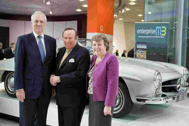 Enterprise M3 chairman Geoff French, with journalist and TV presenter Andrew Neil and Enterprise M3 director Kathy Slack