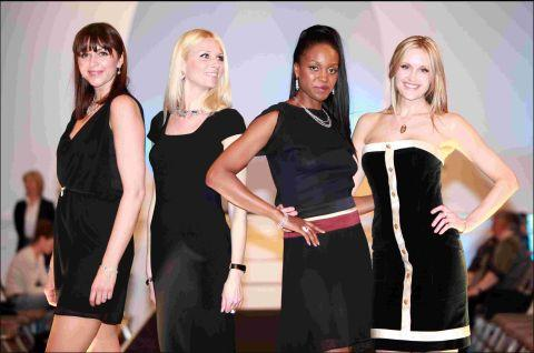 Romsey Advertiser: (L-r) Rachel Purkess, Bonnie Pascal, Jenis Adams and Courtney Murray model at Winchester Fashion Week's Guildhall show