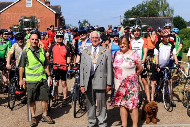 Last year's ride with Mayor and Mayoress Ernie and Barbara Jeffs at Hyde Abbey Gardens
