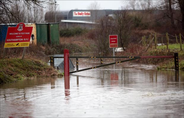 Romsey Advertiser: The flooded entrance to Southampton Rugby Club.