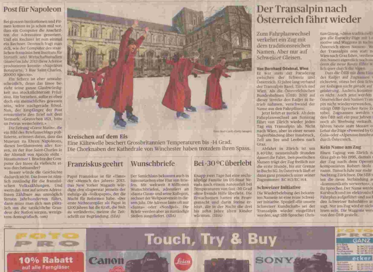 Winchester choristers feature in Swiss newspaper