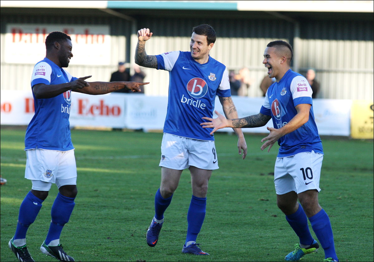 Eastleigh celebrate their first goal on Saturday.
