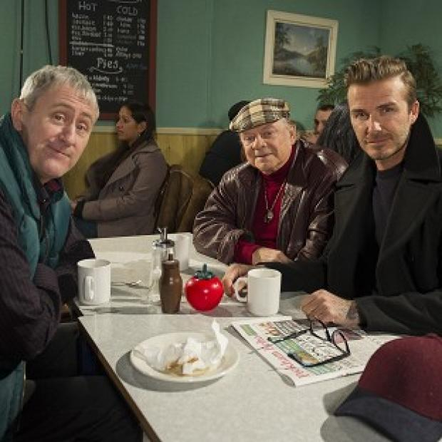 Romsey Advertiser: David Beckham joins Sir David Jason and Nicholas Lyndhurst for a special Only Fools and Horses sketch reuniting Del Boy and Rodney for the first time in a decade (Comic Relief/PA)