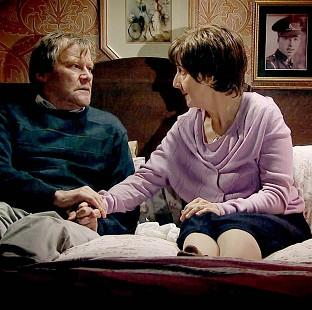 Romsey Advertiser: Hayley and Roy Cropper, played by Julie Hesmondhalgh and David Neilson, during a scene in which the characters discuss her right to die (ITV/PA)