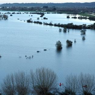 Flood water on the Somerset Levels