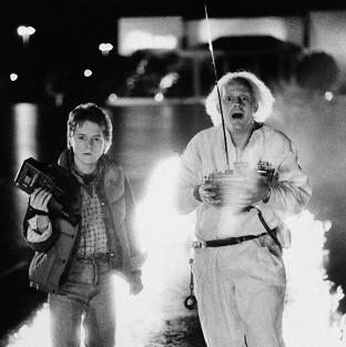Romsey Advertiser: Michael J Fox as Marty McFly and Christopher Lloyd as inventor Doctor Emmett Brown in a scene from the 1985 film Back To The Future (AP)