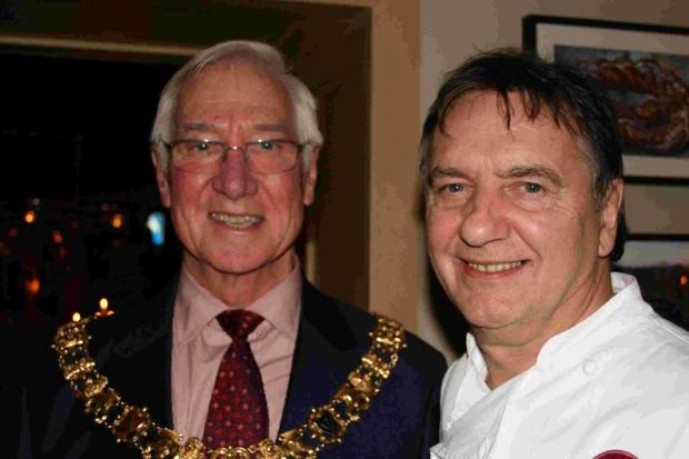 Mayor of Winchester, Cllr Ernie Jeffs (right) with Brasserie Blanc owner, Raymond Blanc. Picture by Liz Kavanagh.