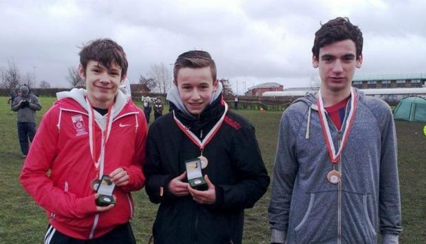 Romsey Advertiser: Sam Costley, Luke Powell and Patrick Whelan, of Southampton with their U15 boys third place team medals – Sam (10th) and Luke (7th) with individual medals.