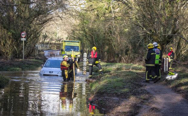Emergency services rescue a stranded driver at Plaitford