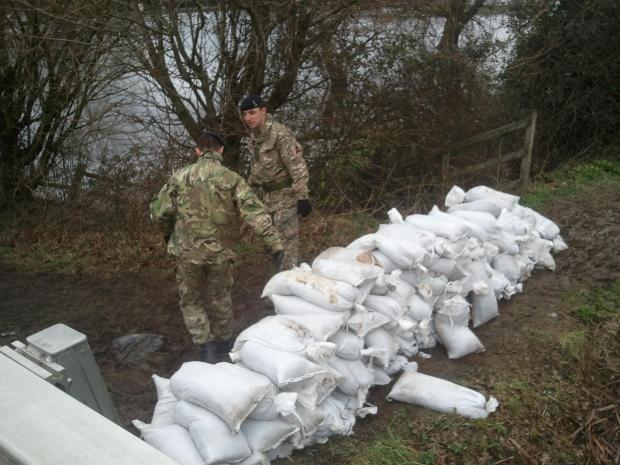 Flood defences this week on the River Test