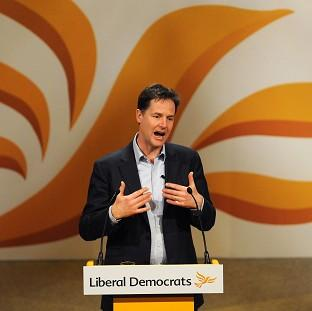 Nick Clegg speaks during the Liberal Democrat Spring Conference at the Barbic